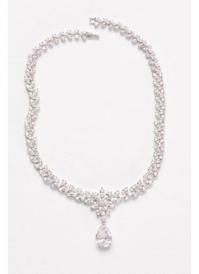 David's Bridal Grey (Extravagant Cubic Zirconia Collar Necklace)