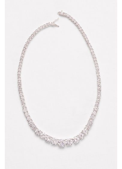 Graduated Cubic Zirconia Solitaire Necklace - Wedding Accessories