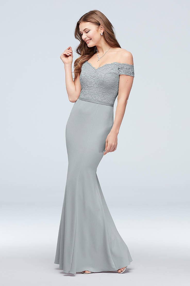 59fdfacb9e Metallic Silver Bridesmaid Dresses - Sparkly, Sequin Gowns | David's ...
