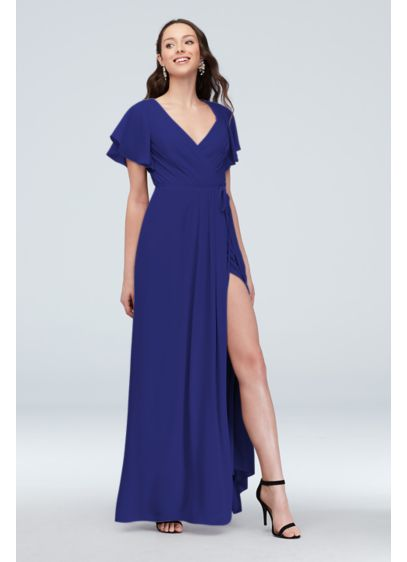 David's Bridal Purple (Flutter Sleeve Georgette Bridesmaid Dress)