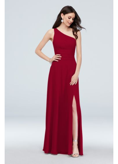 One-Shoulder Ruched Waist Chiffon Bridesmaid Dress - This luxurious soie chiffon bridesmaid dress features a