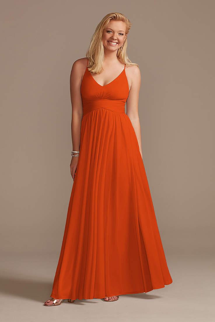 nice cheap outlet online exclusive deals Tangerine and Orange Bridemaid Dresses | David's Bridal