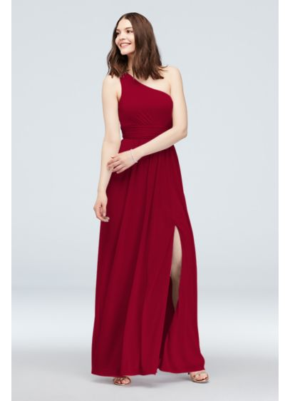 One Shoulder Ruched Waist Mesh Bridesmaid Dress - Perfect for the boho or edgy members of