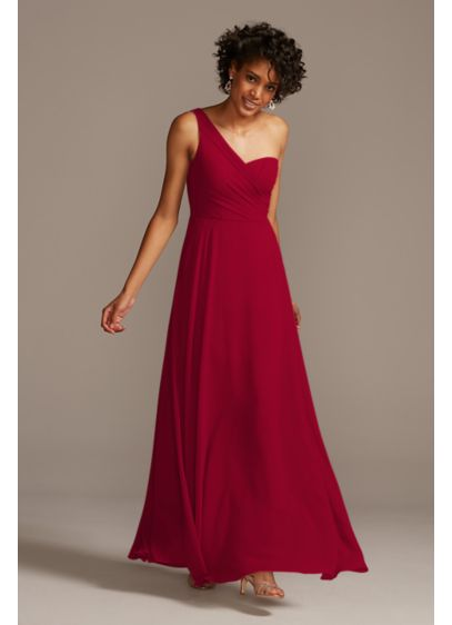 Long Orange Soft & Flowy David's Bridal Bridesmaid Dress