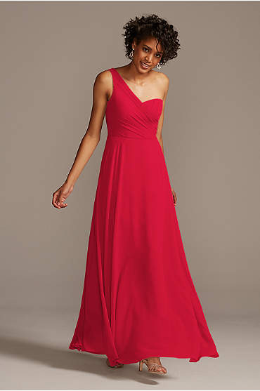 One-Shoulder Full Skirt Bridesmaid Dress