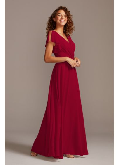 Flutter Sleeve Full Skirt Bridesmaid Dress - This long chiffon bridesmaid dress gives an aura