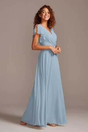Dusty Blue Bridesmaid Dresses In Long Short Sleeve Styles David S Bridal