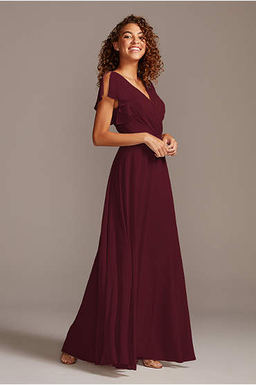 Flutter Sleeve Full Skirt Bridesmaid Dress