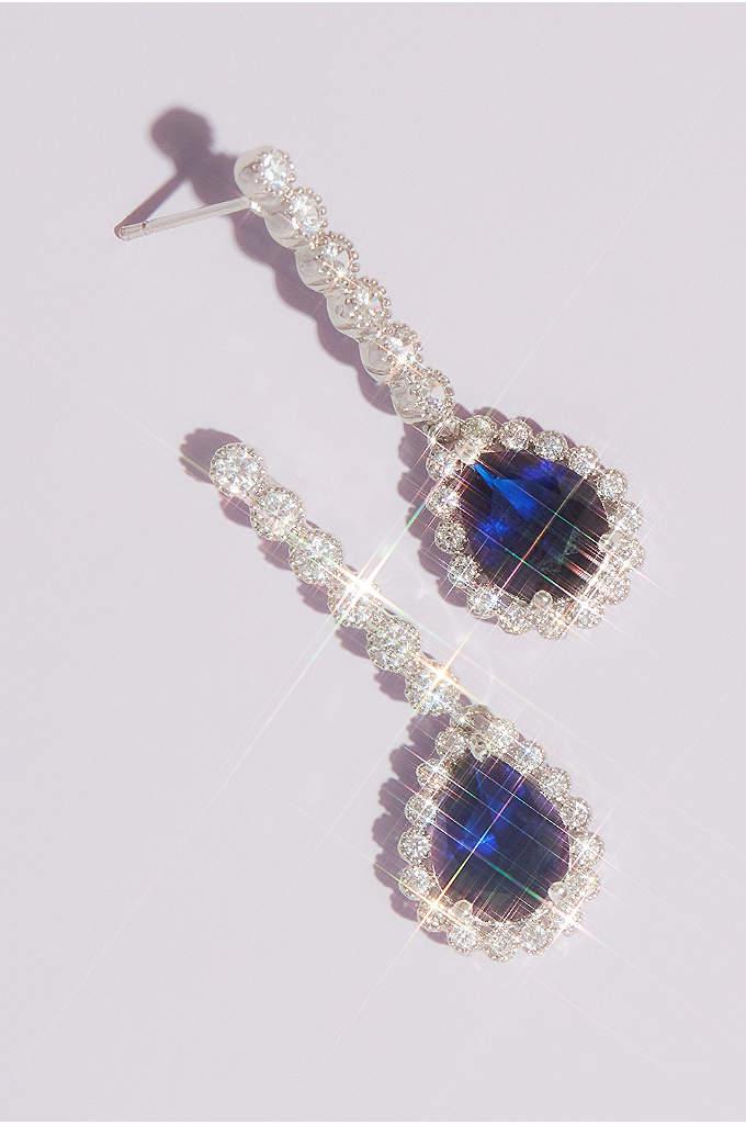 Pear Sapphire Drop Earrings - Timeless earrings featuring brilliantly blue pear-shaped cubic zirconia