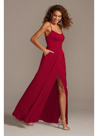 Crepe-Back Satin Spaghetti Strap Bridesmaid Dress - Radiate glamour in this clean-lined, crepe-back satin bridesmaid