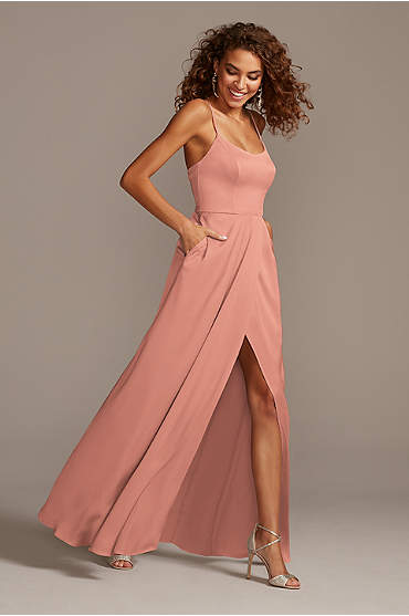 Crepe-Back Satin Spaghetti Strap Bridesmaid Dress