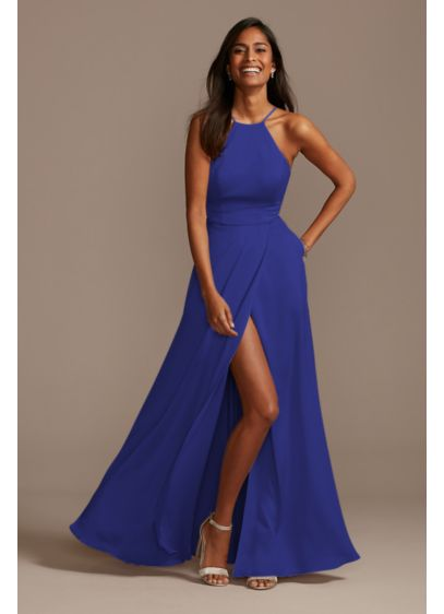 Long Blue Structured David's Bridal Bridesmaid Dress