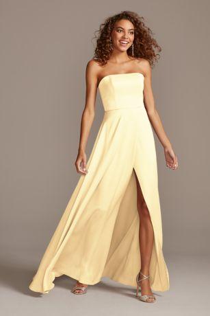 Structured David's Bridal Long Bridesmaid Dress