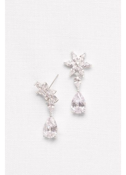 Cubic Zirconia Flower Drop Earrings - Wedding Accessories