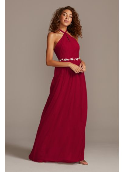 High-Neck Pleated Soft Net Bridesmaid Dress - This sweeping net bridesmaid dress features soft, elegant