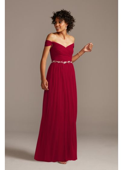 Off-the-Shoulder Pleated Soft Net Bridesmaid Dress - This sweeping net bridesmaid dress features soft, elegant