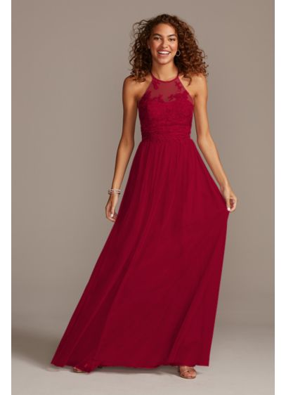 High-Neck Embroidered Soft Net Bridesmaid Dress - This poetic embroidered bridesmaid dress features delicately stitched