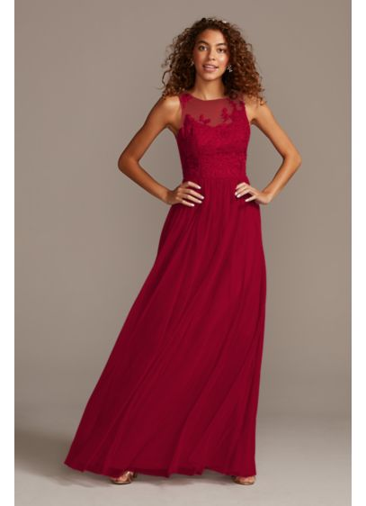 Sleeveless Embroidered Soft Net Bridesmaid Dress - This poetic embroidered bridesmaid dress features delicately stitched