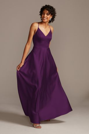 Long A-Line Spaghetti Strap Dress - David's Bridal