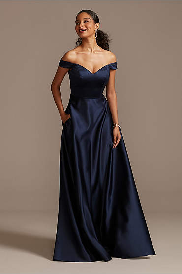 Off-the-Shoulder Satin A-Line Bridesmaid Dress
