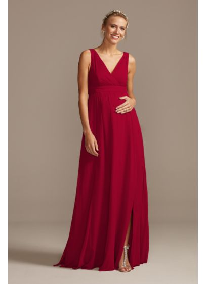 Pleated Tank Chiffon Maternity Bridesmaid Dress - This luxurious soie chiffon bridesmaid dress features a