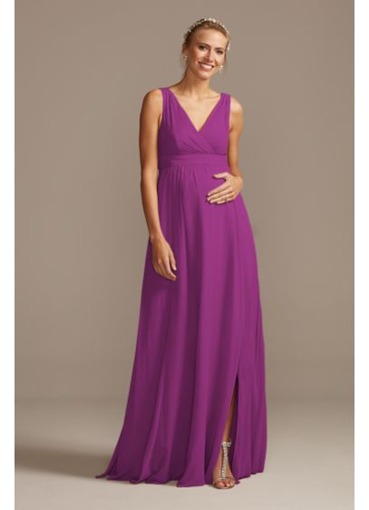 Chiffon Pleated Tank Maternity Bridesmaid Dress - This luxurious soie chiffon bridesmaid dress features a