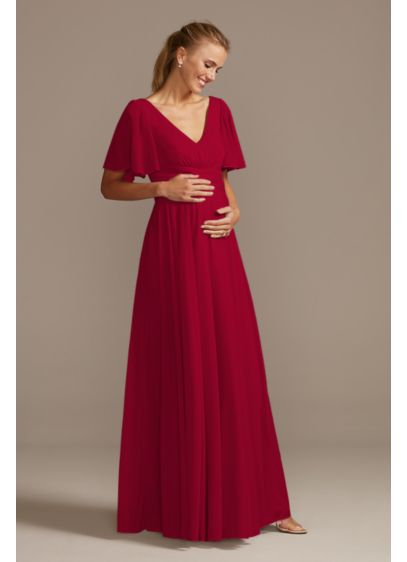Flutter Sleeve Mesh Maternity Bridesmaid Dress - With a flattering crisscross waistband and flowing flutter