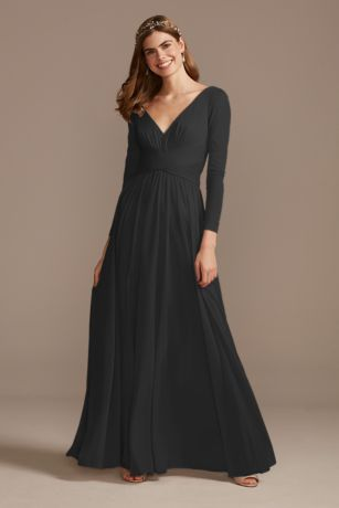 Long Sheath Long Sleeves;One Shoulder Dress - David's Bridal