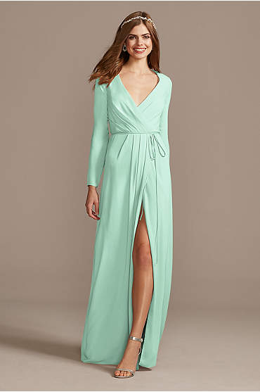 Long Sleeve Wrap Georgette Bridesmaid Dress