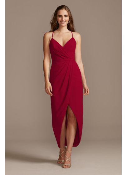 Tulip Hem Chiffon Midi Bridesmaid Dress - Fun and flirty, this cute chiffon faux-wrap bridesmaid