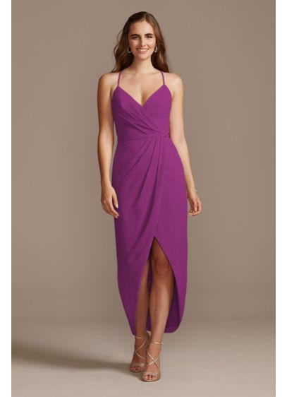 Midi Purple Soft & Flowy David's Bridal Bridesmaid Dress
