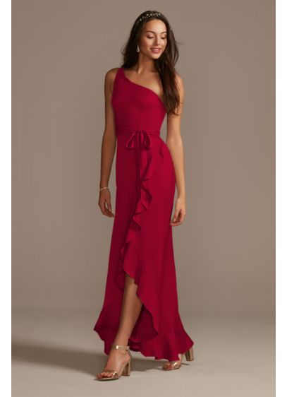 One Shoulder Crepe Satin Ruffle Bridesmaid Dress - Crafted of crepe-back satin, this bridesmaid dress has
