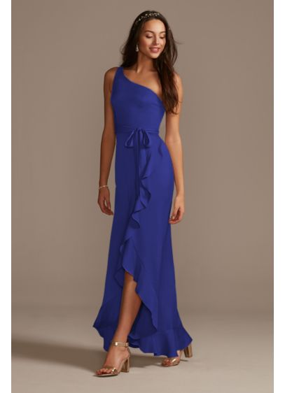 High Low Blue Structured David's Bridal Bridesmaid Dress