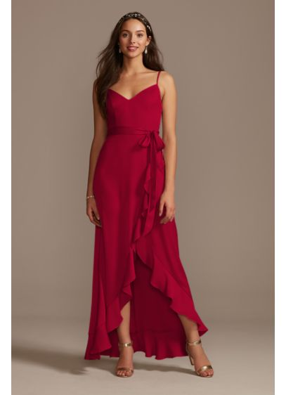 High Low Red Structured David's Bridal Bridesmaid Dress