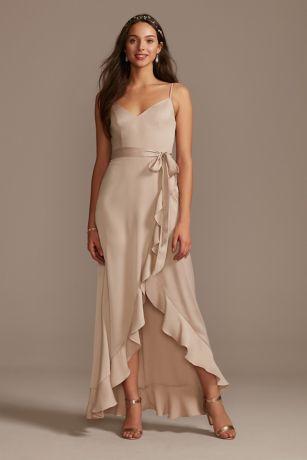 Structured David's Bridal High Low Bridesmaid Dress