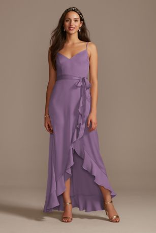 Structured David's Bridal High Low Bridesmaid Dress
