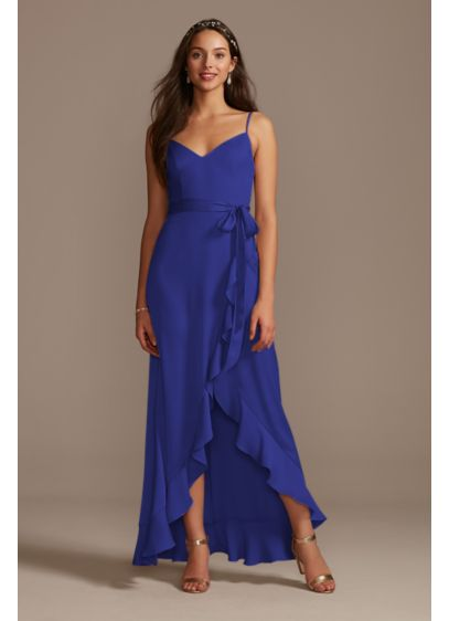 High Low Blue Structured David's Bridal Bridesmaid Dress