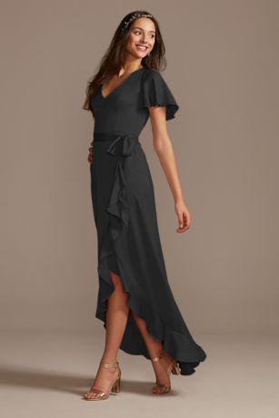 High Low Sheath Short Sleeves Dress - David's Bridal