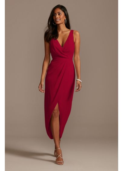 Midi Red Soft & Flowy David's Bridal Bridesmaid Dress