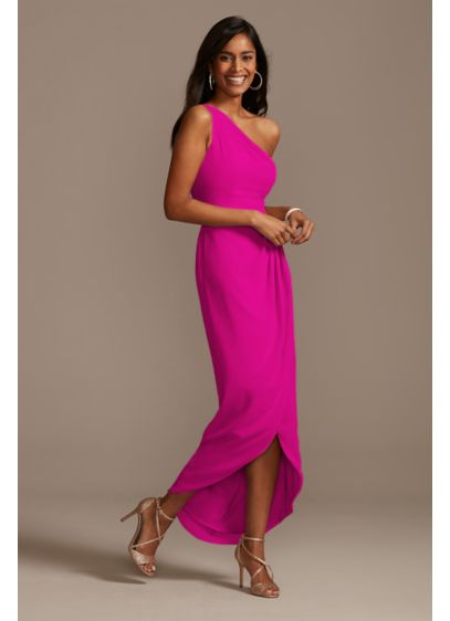 Chiffon One Shoulder Tulip Hem Bridesmaid Dress - Modern yet romantic, this chiffon bridesmaid dress features