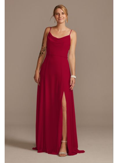 Cowl Neck Chiffon Bridesmaid Dress with Slit - Easy to wear again and again, this chiffon
