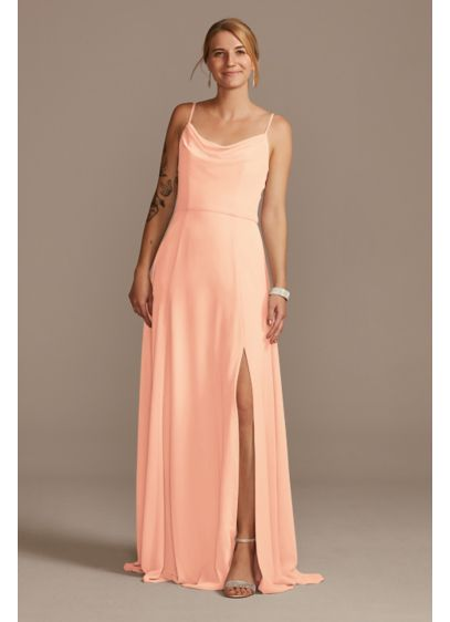 Chiffon Cowl Neck Bridesmaid Dress with Slit - Easy to wear again and again, this chiffon