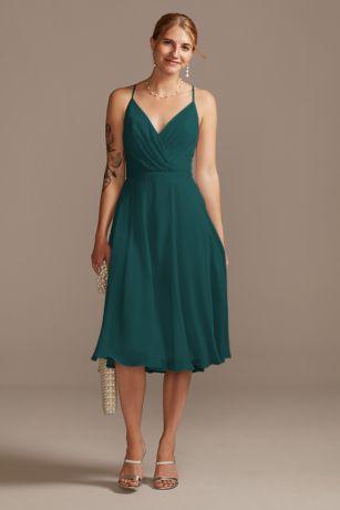 Soft & Flowy David's Bridal Midi Bridesmaid Dress