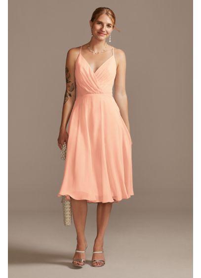 Midi Orange Soft & Flowy David's Bridal Bridesmaid Dress