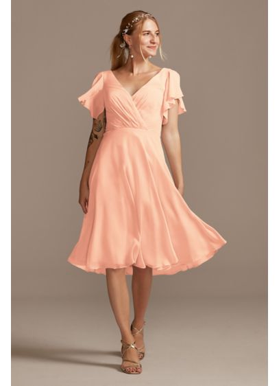 Midi Orange Soft & Flowy David's Bridal Bridesmaid Dress