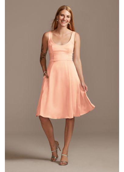 Short Orange Structured David's Bridal Bridesmaid Dress