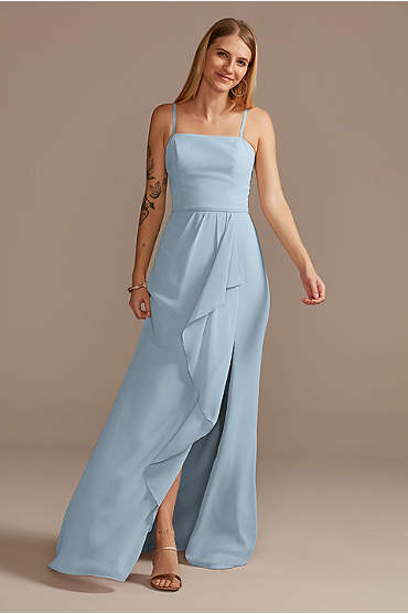 Spaghetti Strap Bridesmaid Dress with Cascade