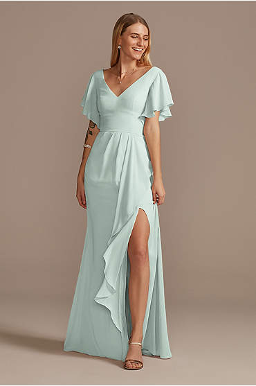 Flutter Sleeve Bridesmaid Dress with Cascade
