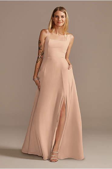 Squared Tank Lace Up Chiffon Bridesmaid Dress