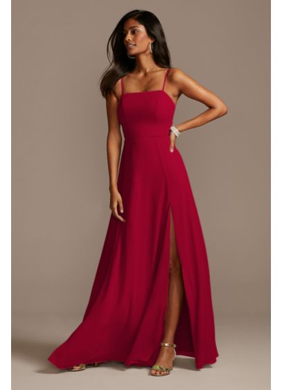 Spaghetti Strap Chiffon Bridesmaid Dress with Slit - Easy to wear again and again, this chiffon